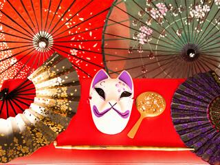 狐面・扇子・和傘・キセルなどの撮影用の小道具